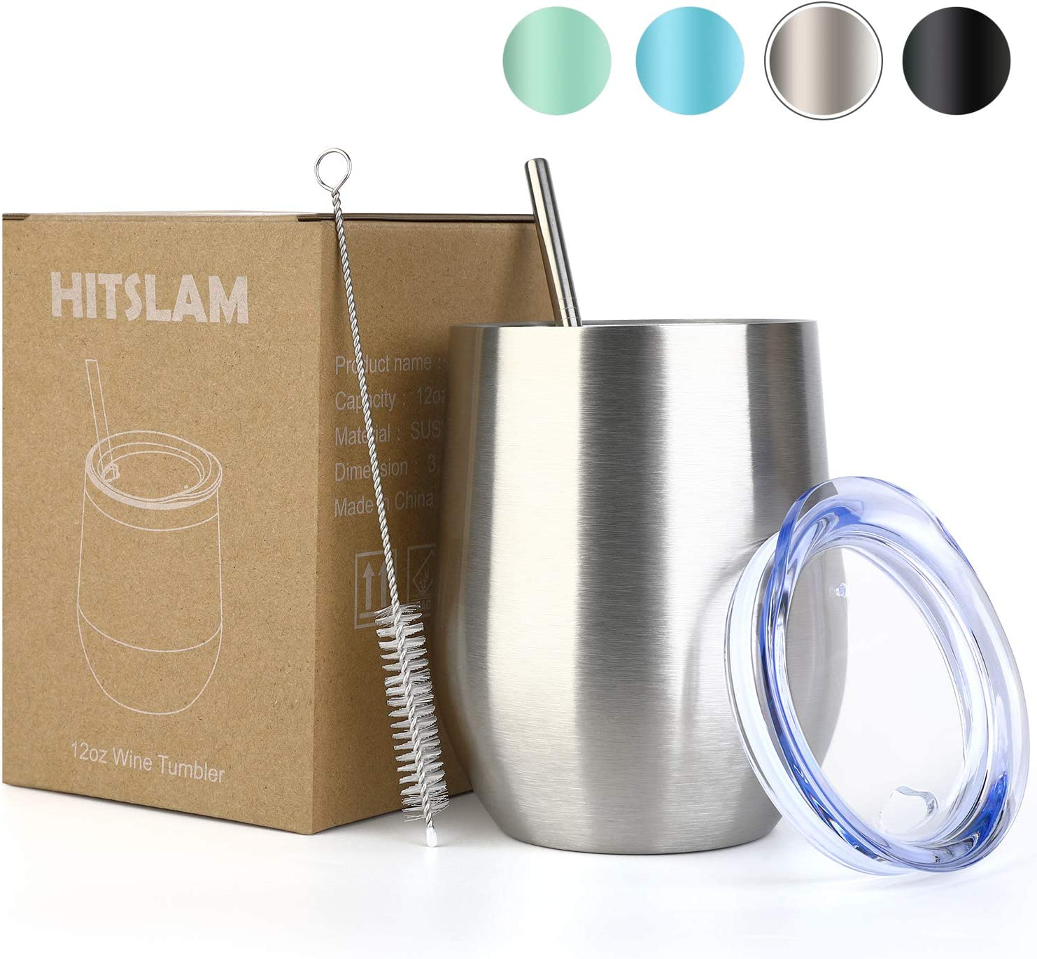 HITSLAM Wine Tumbler 12oz Stainless Steel Tumbler Vacuum Insulated Wine Glass Double Wall Coffee Mug for Champaign, Beer, Office use includes Straw Lid, Straw, Cleaning Brush (Silver)