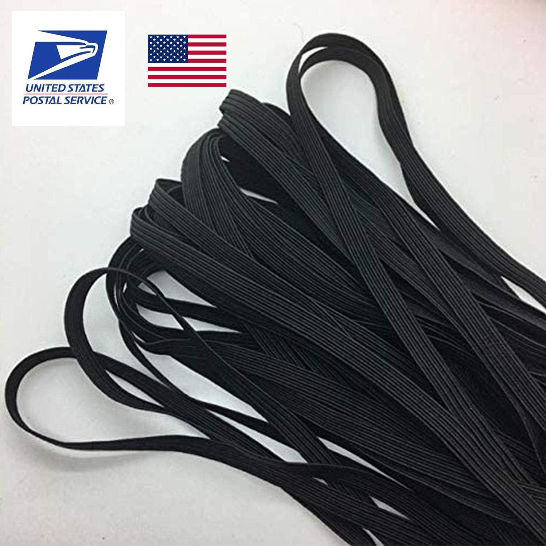 20 Yards Black 1//4 Inch Width Braided Elastic Band Elastic String Cord Heavy Stretch High Elasticity Knit Elastic Band for Sewing Craft DIY