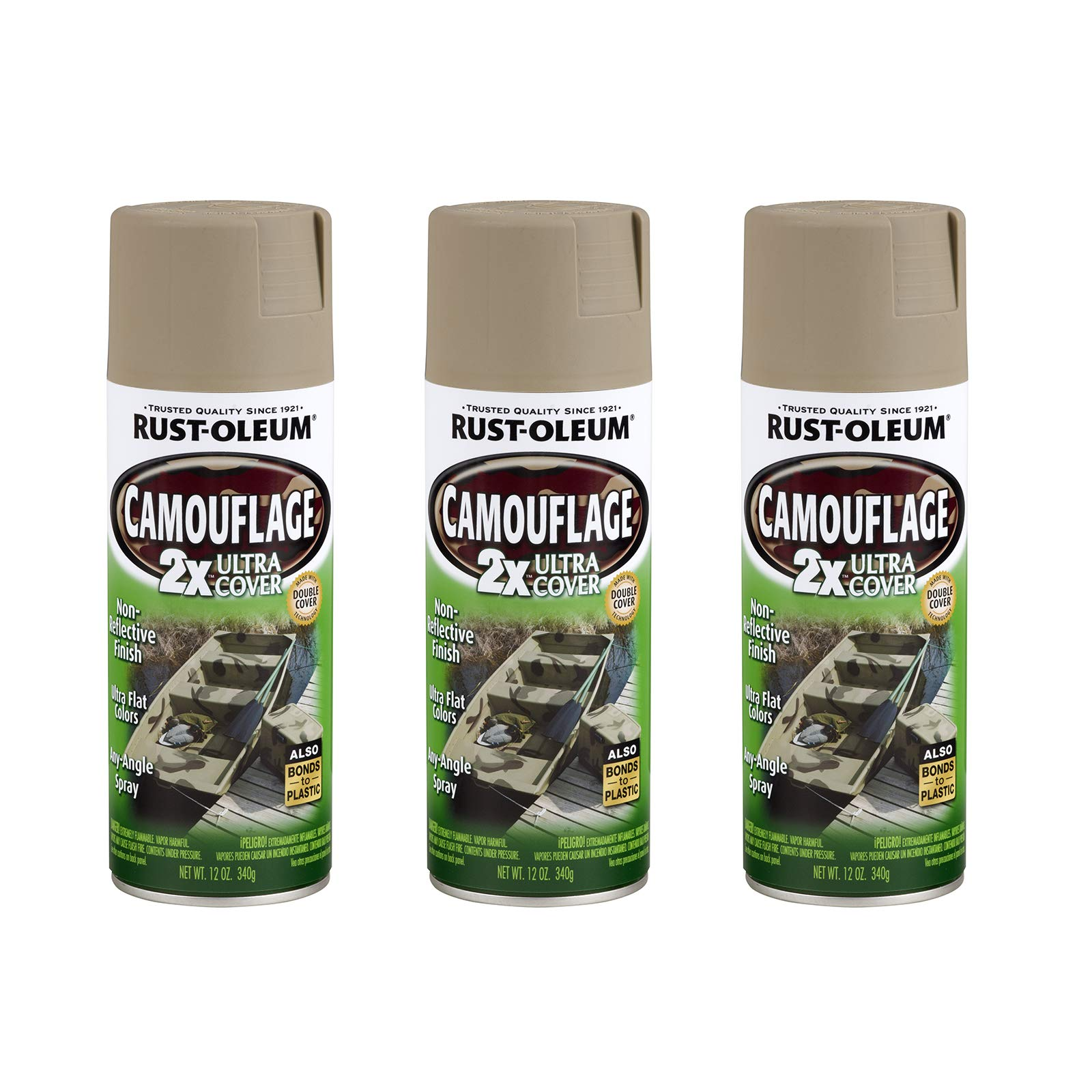 Rust-Oleum 279177A3 Camouflage 2X Ultra Cover Spray Paint, 3 Pack, Khaki