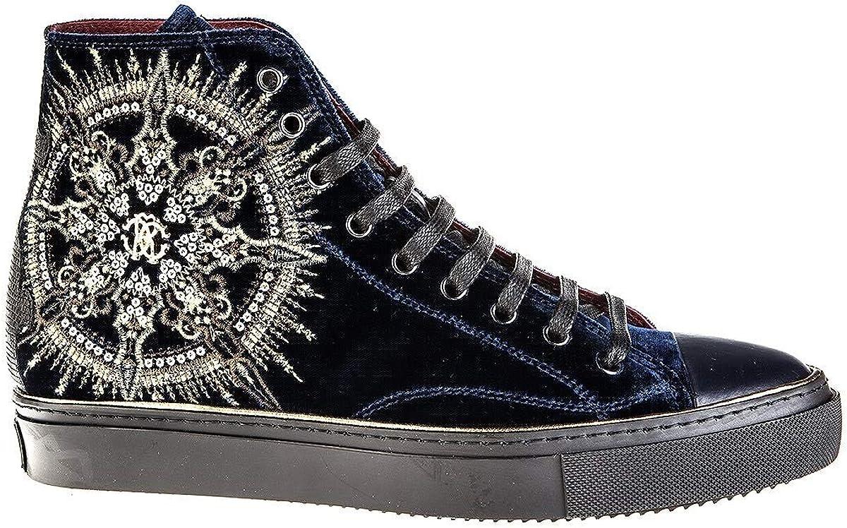 Amazon Com Roberto Cavalli 6410 Blue Leather Italian Designer Men Sneakers Fashion Sneakers