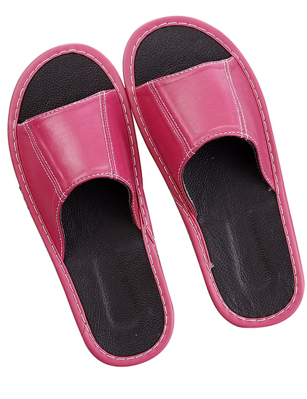 Zoulee Unisex Comfort House Indoor Slip On Leather Slippers Sweat-Absorbent Summer Slippers