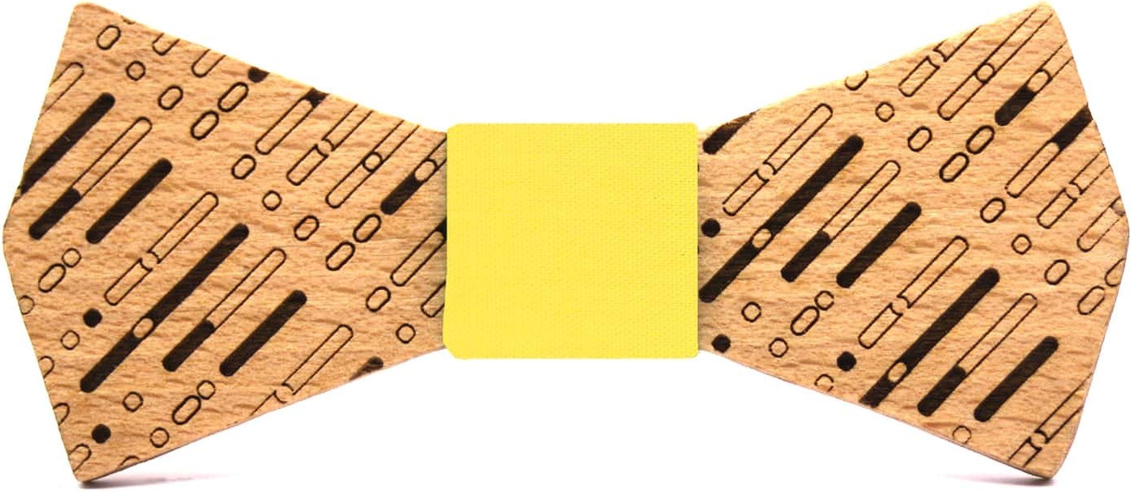 Territorial Pajarita de madera ADN. Colección de moda hombre: Confeccionada en España Wood. Línea boda y eventos. Regalo elegante y original. Nudo a elegir (Amarillo): Amazon.es: Ropa y accesorios