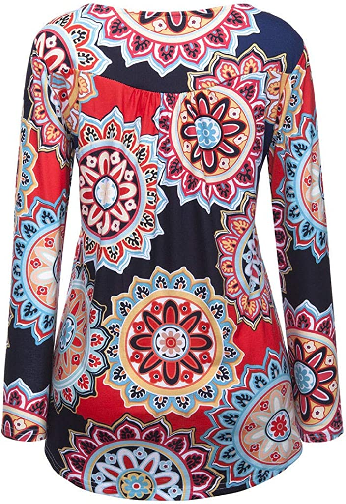 Blouse for Women Long Sleeve Kimloog Women Casual Daily Button Printed Ladies Fashion Long Sleeve Blouse Shirt Tops