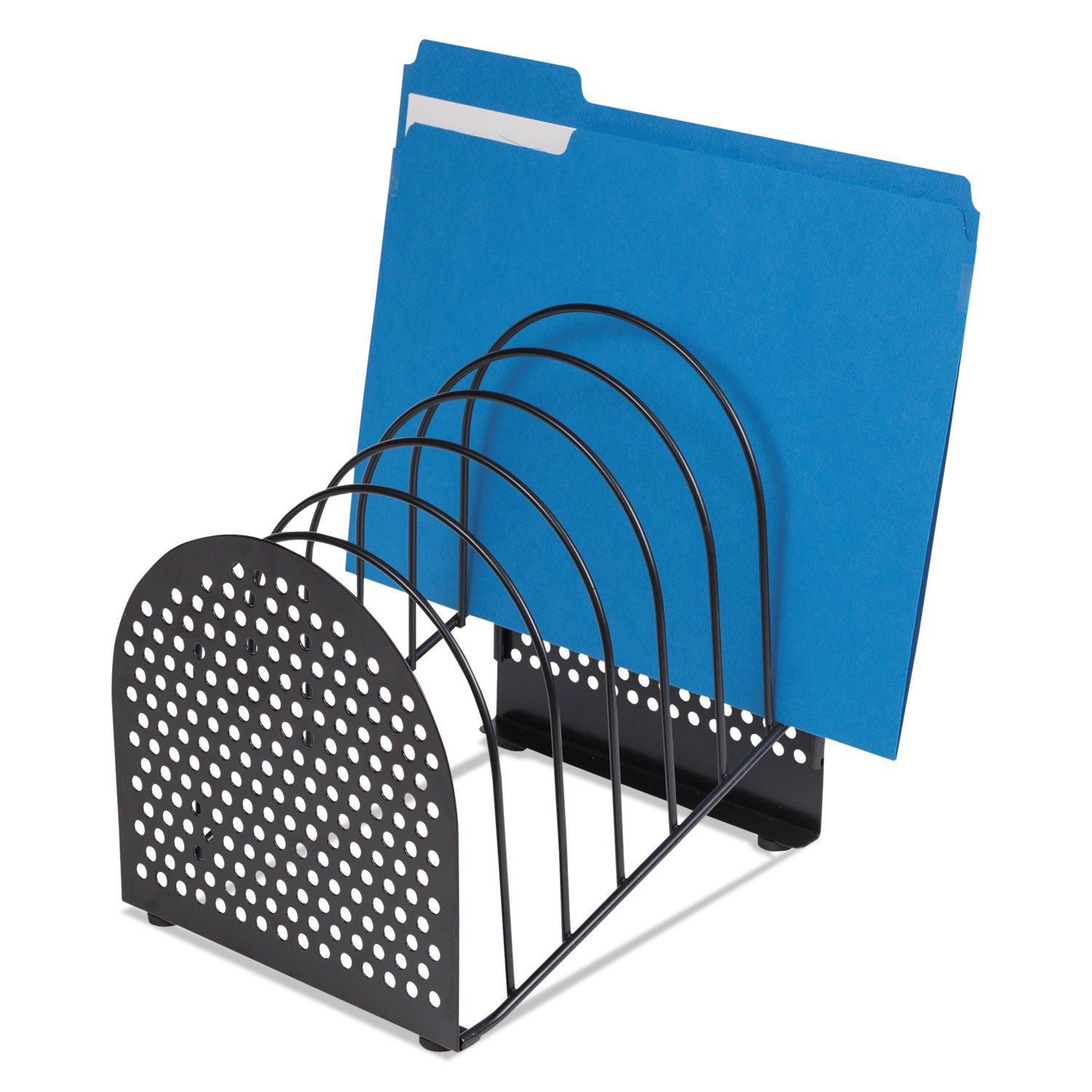 Fellowesamp;reg; Perf-Ect Step File, Seven Sections, Metal/Wire, 7w x 9 7/8d x 9 1/8h, Black