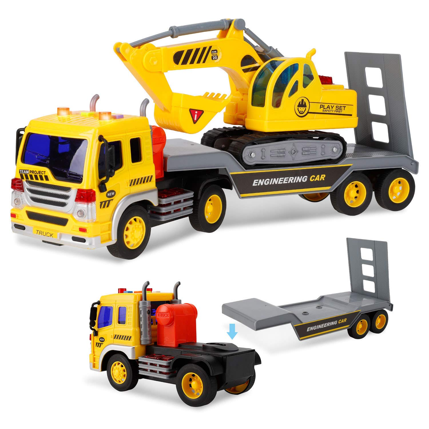 Liberty Imports 2-in-1 Friction Powered Toy Construction Truck Vehicle with Excavator with Lights and Sounds