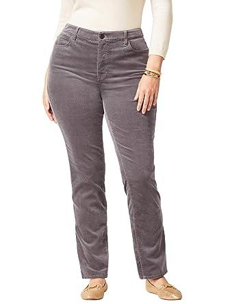 e2b2e9ec8a1 Talbots High-Rise Velveteen Straight-Leg Pants - Plus Size Curvy 18 Grey