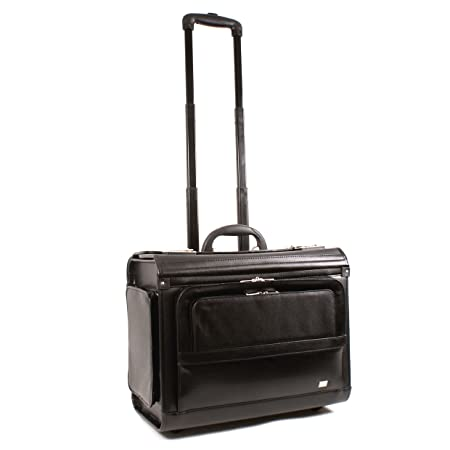 e6bc40a38 Large Wheeled Laptop Pilot Case in Faux Leather Briefcase Cabin Bag on  Wheels: Amazon.co.uk: Luggage