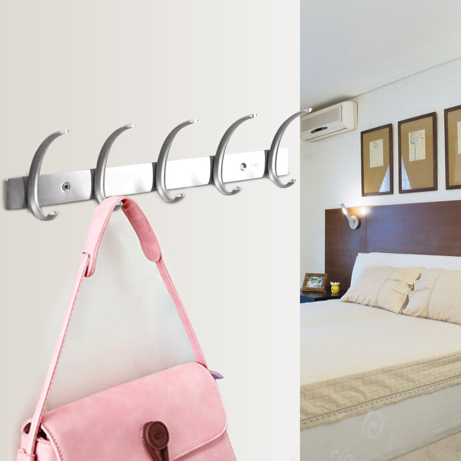 Dreamsbaku Coat Hooks Wall Mounted Robe Towel Racks for Kitchen Bedroom Bathroom and Office Stainless Steel 5 Hook