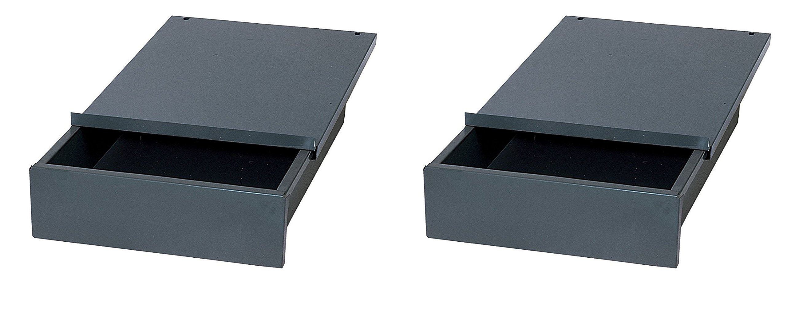 Edsal WD1218 Industrial Gray Steel Bench Drawer, 4'' Height x 12'' Width x 18'' Depth (Pack of 2)