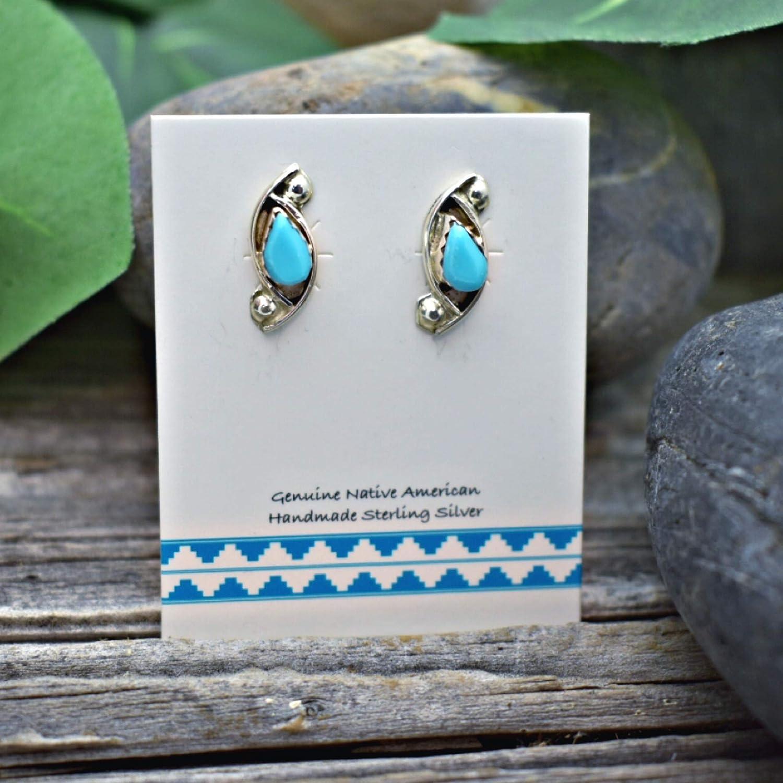 Navajo Sterling Silver Turquoise Stud Earrings