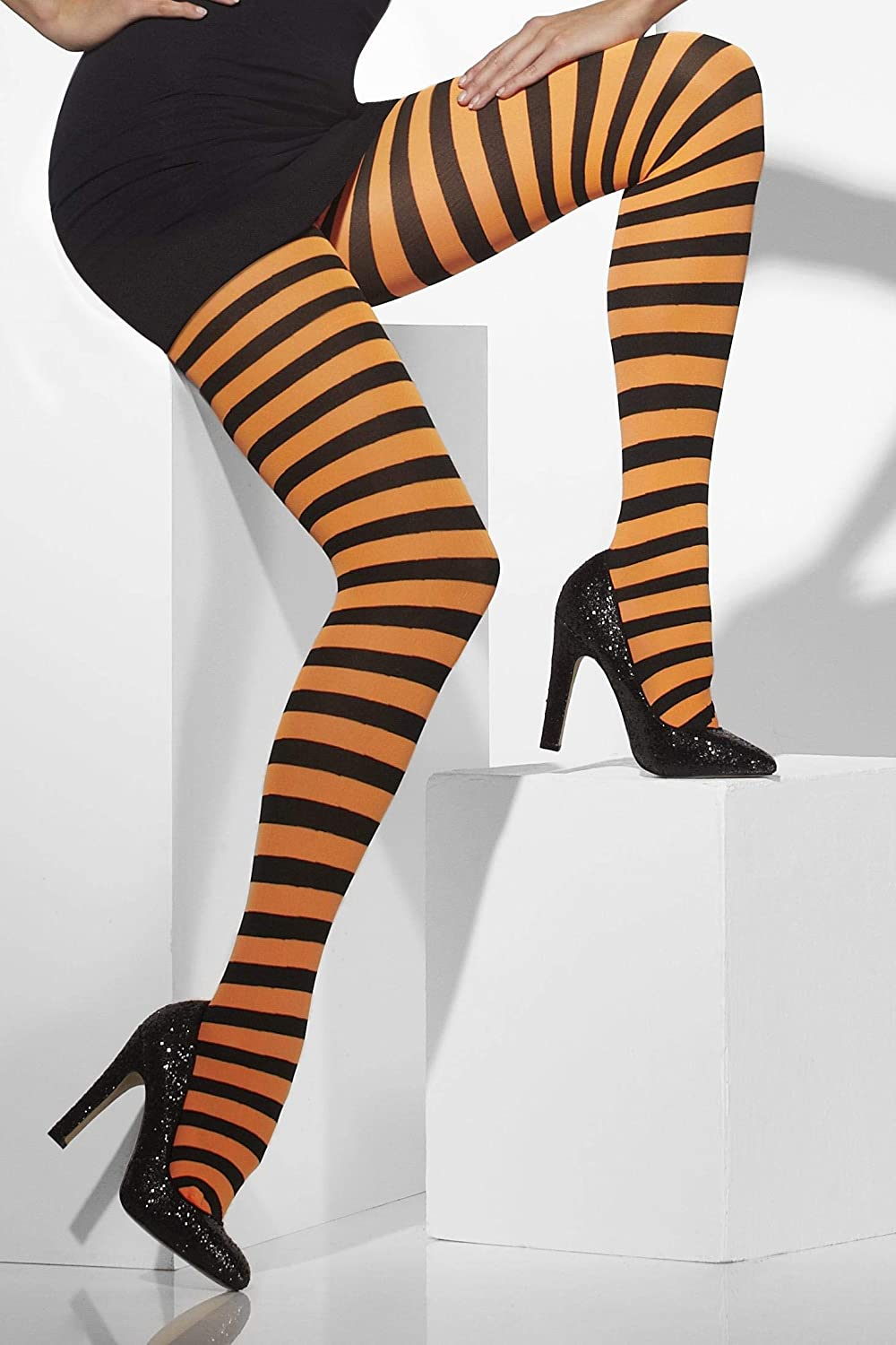 Smiffy's Opaque Tights Fever Orange and White One Size 5020570427163
