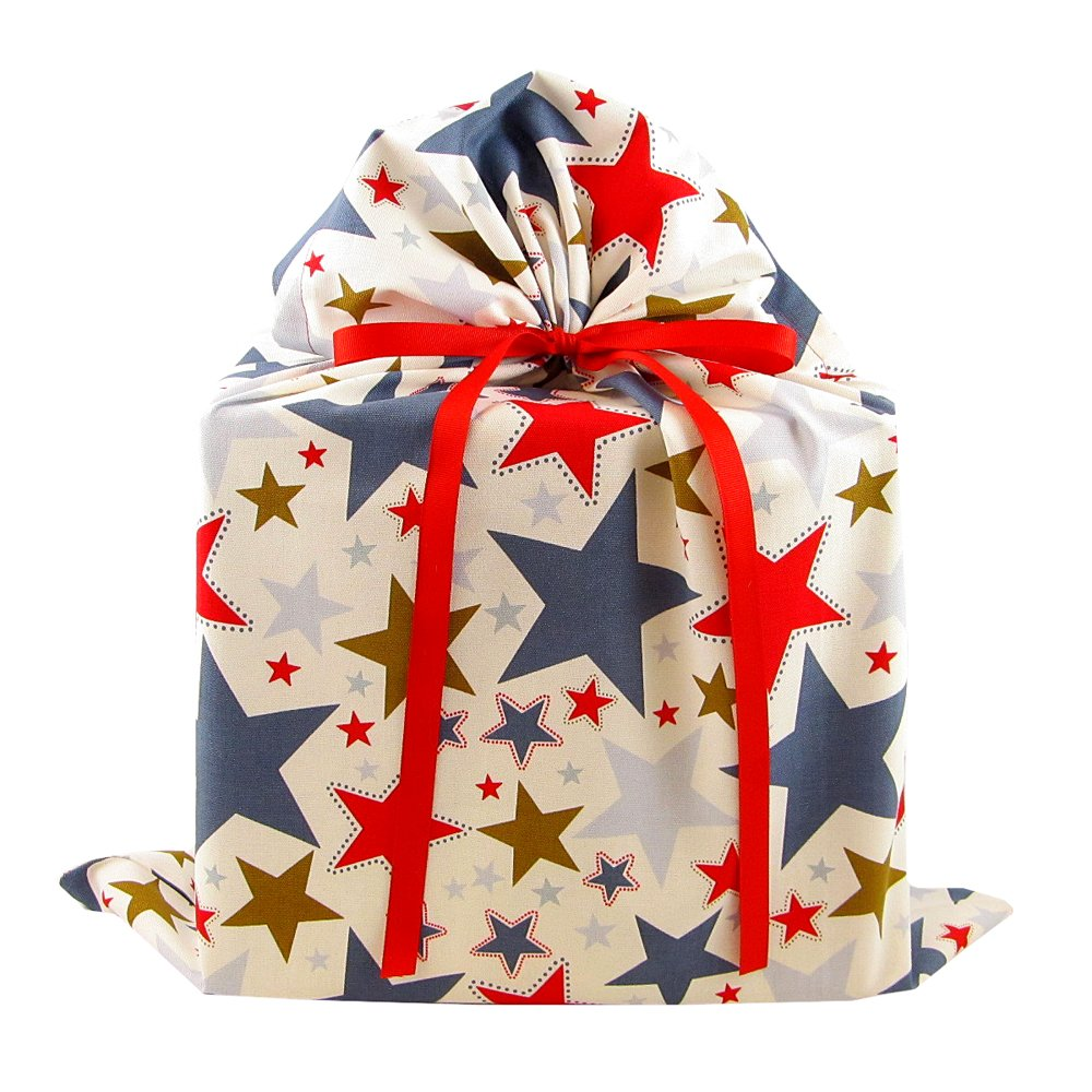 Stars II Reusable Fabric Gift Bag for Birthday, Graduation, or Any Occasion (Large 20 Inches Wide by 27 Inches High)