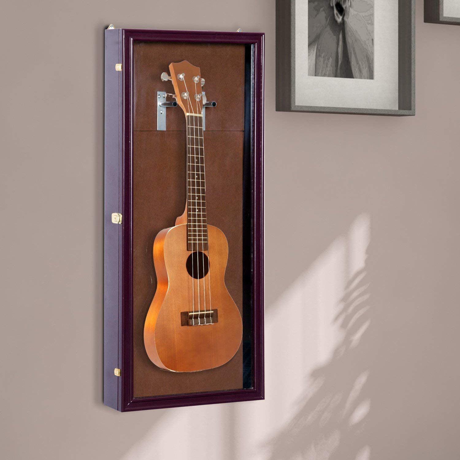Festnight Guitar Shadow Box Wall Mounted Lockable Display Security Case Brown