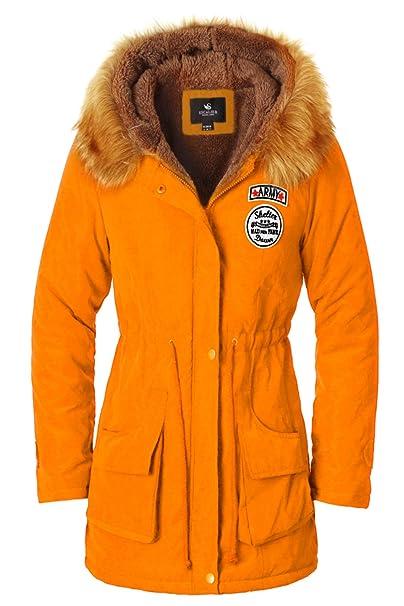 Escalier Abrigo anoraks chaqueta parka de mujer con capucha de pelo para invierno: Amazon.es: Ropa y accesorios