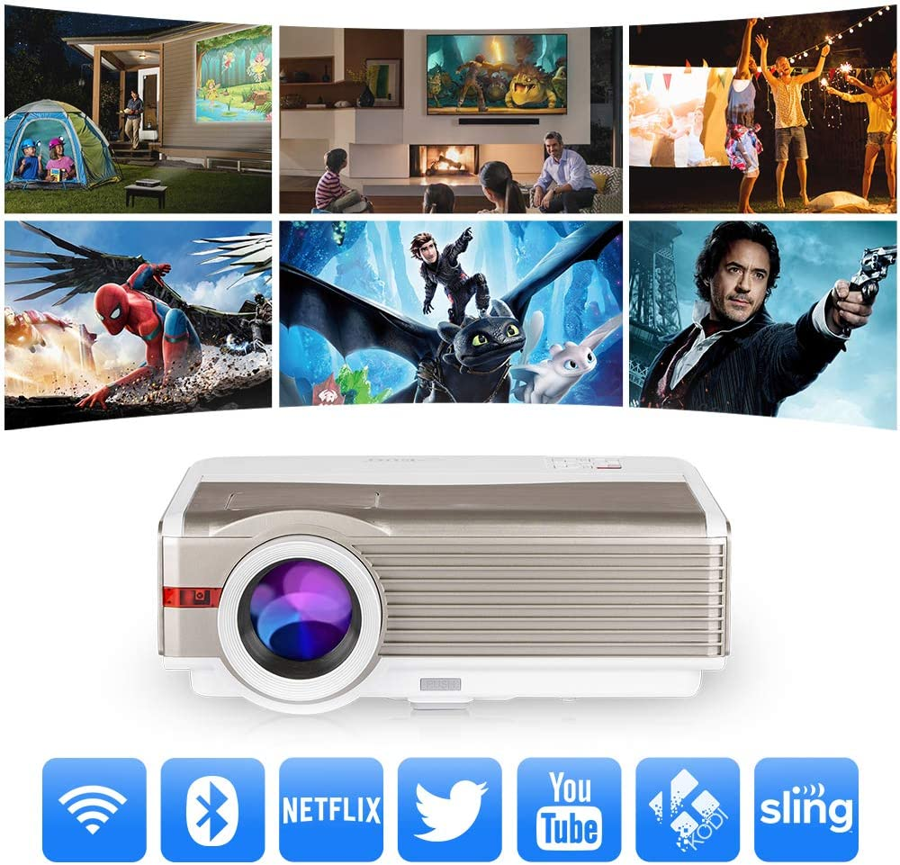 Bluetooth WiFi HDMI Projector 5000 Lumen 1080P LCD LED Multimedia Wireless Airplay Android Video Projector, Zoom HDMI USB VGA AV TV for Smartphone Laptop Gaming Home Theater Outdoor Movie KTV Party