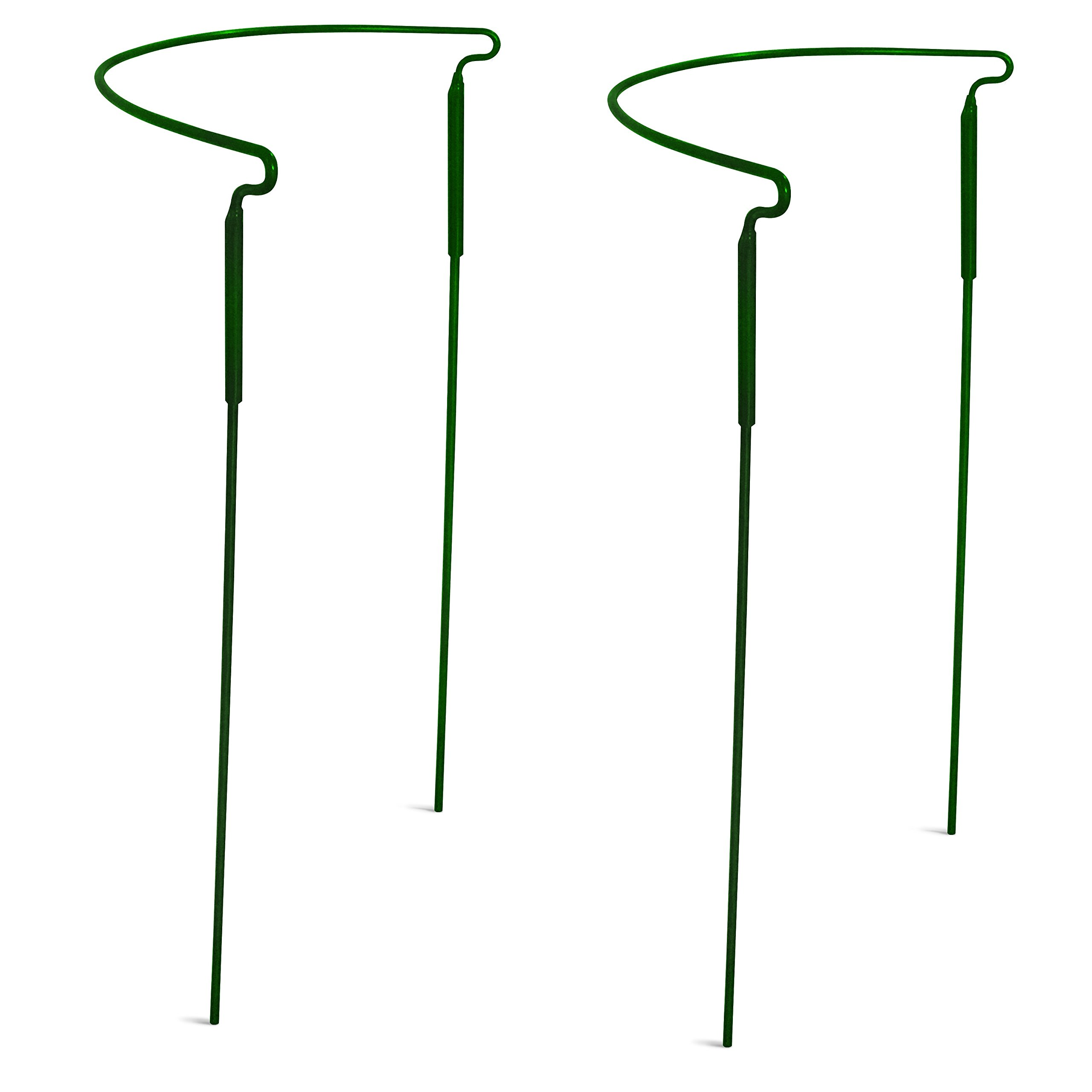 """GrayBunny GB-6896A2 Half Round Plant Support Ring/Cage - 15""""x 30"""", 2-Pack Garden Green Color, Solid Steel Rust & UV Resistant Semi-Circular Plant Border Metal Support, Wire Hoop Plant Support System"""