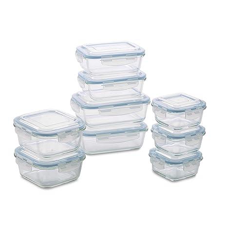 a4ff3ad279f8 1790 Glass Food Storage Container Set (18 Piece Aqua)