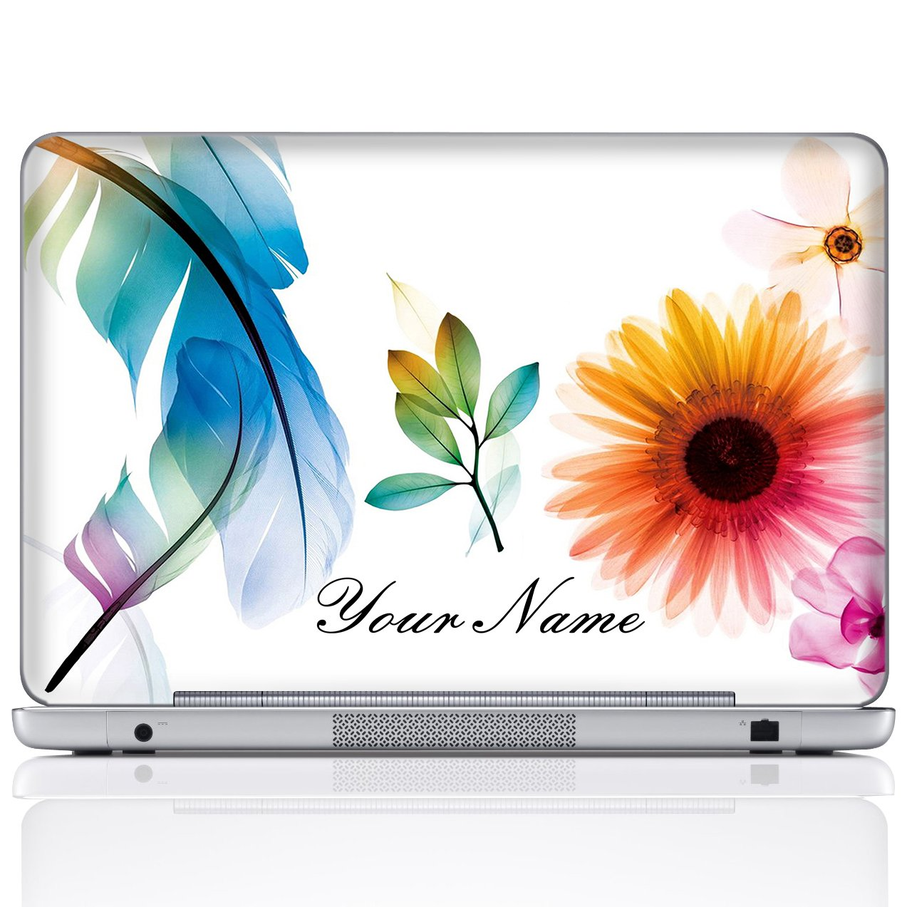 Meffort Inc Personalized Laptop Notebook Notebook Skin Sticker Cover Art Decal, Customize Your Name (17 Inch, White Flower Leaves)