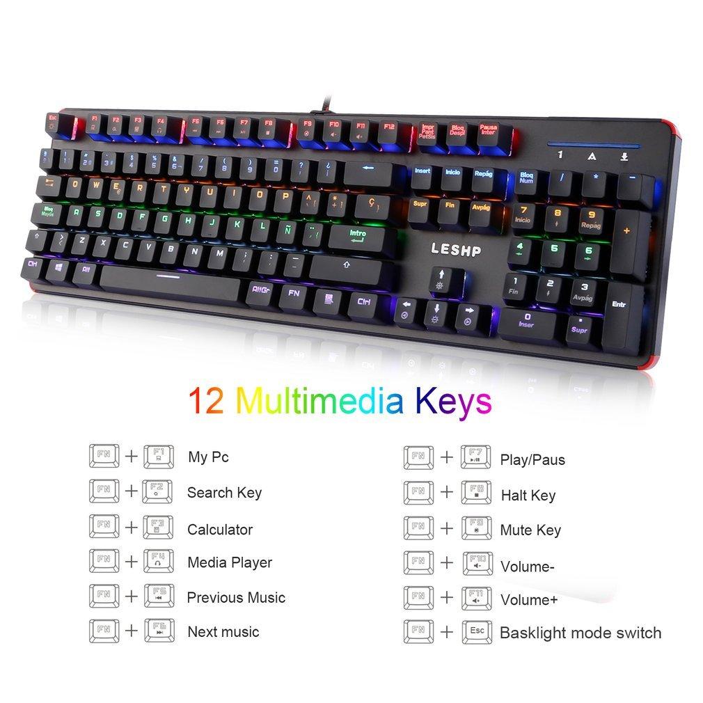 Teclado Mecánico Gaming 105 Teclas y Switches Blue, Teclado para Juego con Cable RGB Retroiluminado Mechanical Keyboard con Disposición Española (...