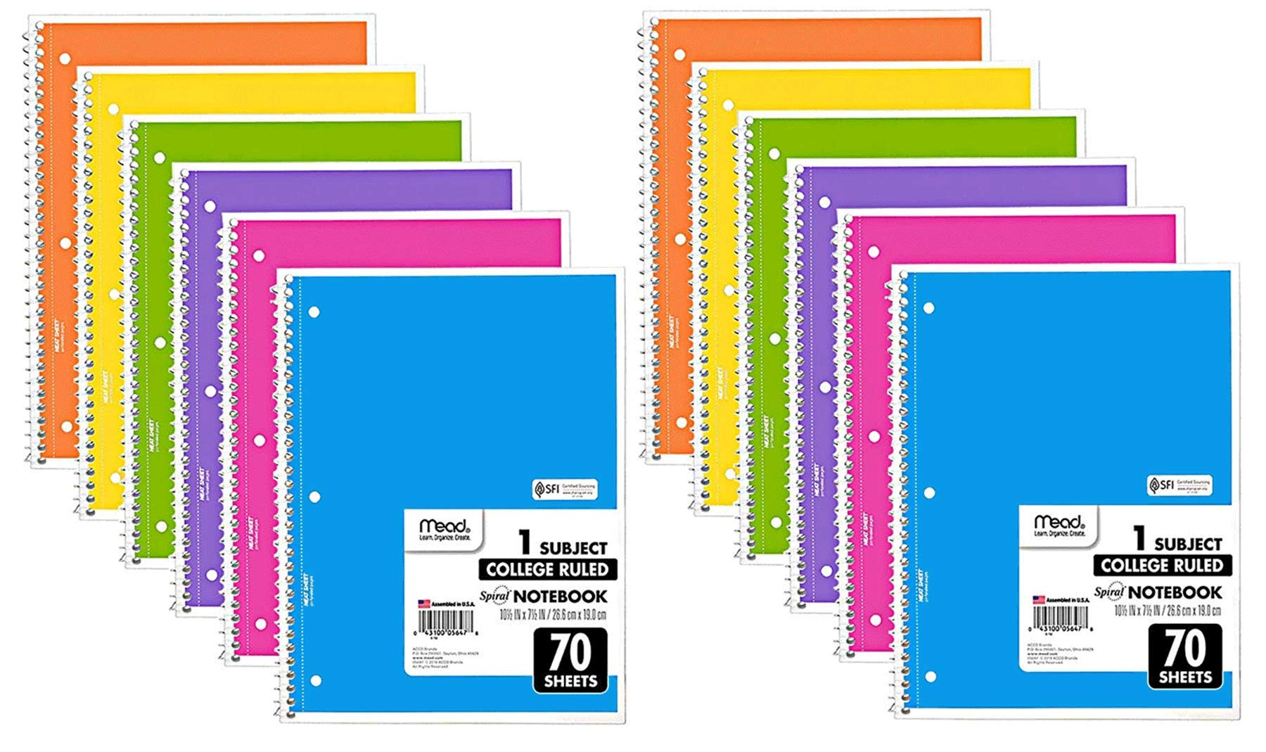 Mead Spiral Notebook, 12 Pack of 1-Subject College Ruled Spiral Bound Notebooks, Cute school Notebooks Pantone Colors, 70 Pages by Mead