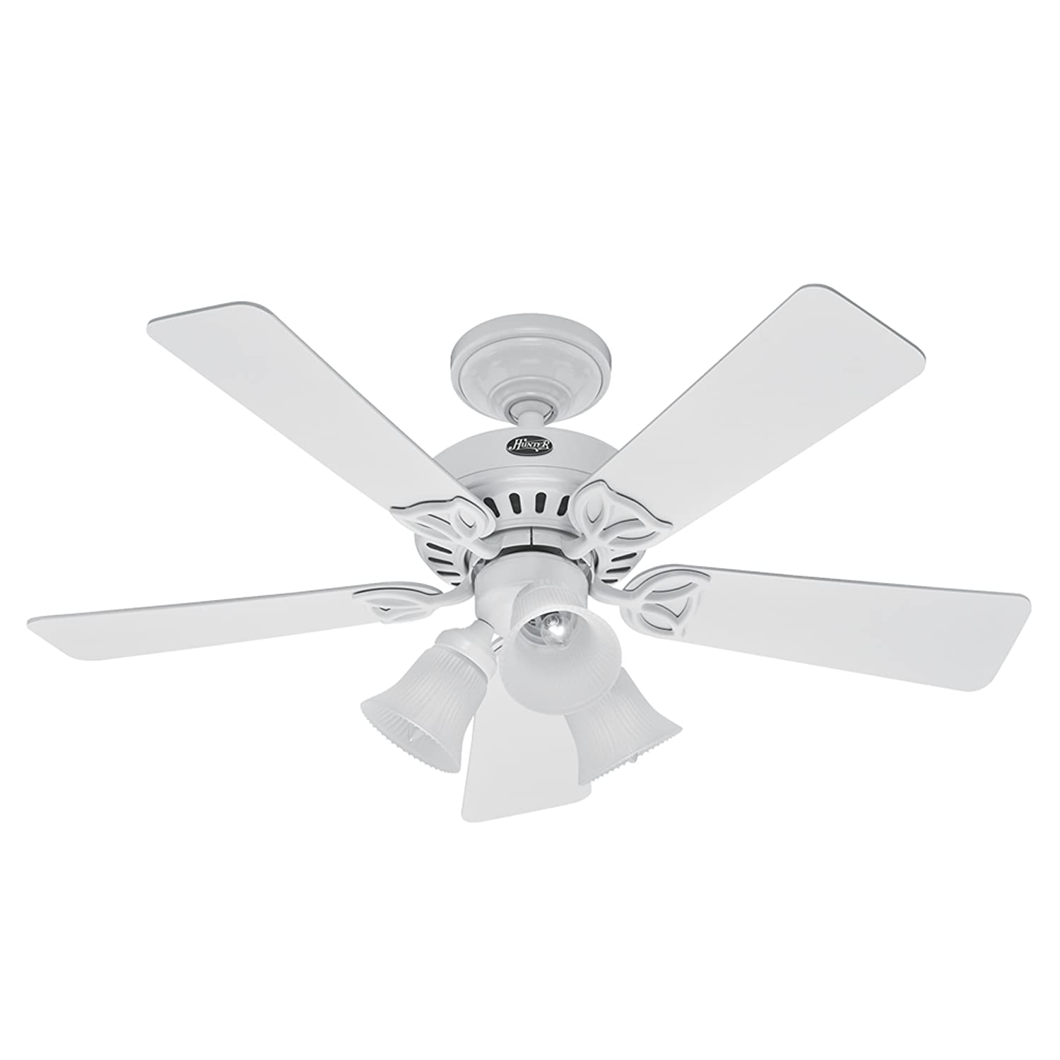 Hunter 20436 beacon hill three light 42 inch five blade ceiling fan hunter 20436 beacon hill three light 42 inch five blade ceiling fan white with frosted globes white ceiling fan with remote amazon aloadofball Choice Image