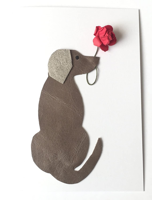 Birthday Card Weimaraner Dog Leather A6 size Card 105mm x 147mm 4.13 ...