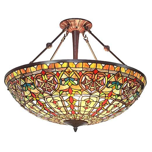 Amazon.com: Lámpara de araña estilo Tiffany de 27 pulgadas ...
