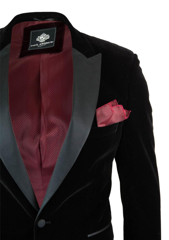 Paul Andrew Mens Soft Velvet Black Smart Casual Formal Wedding Grooms Prom Blazer Jacket