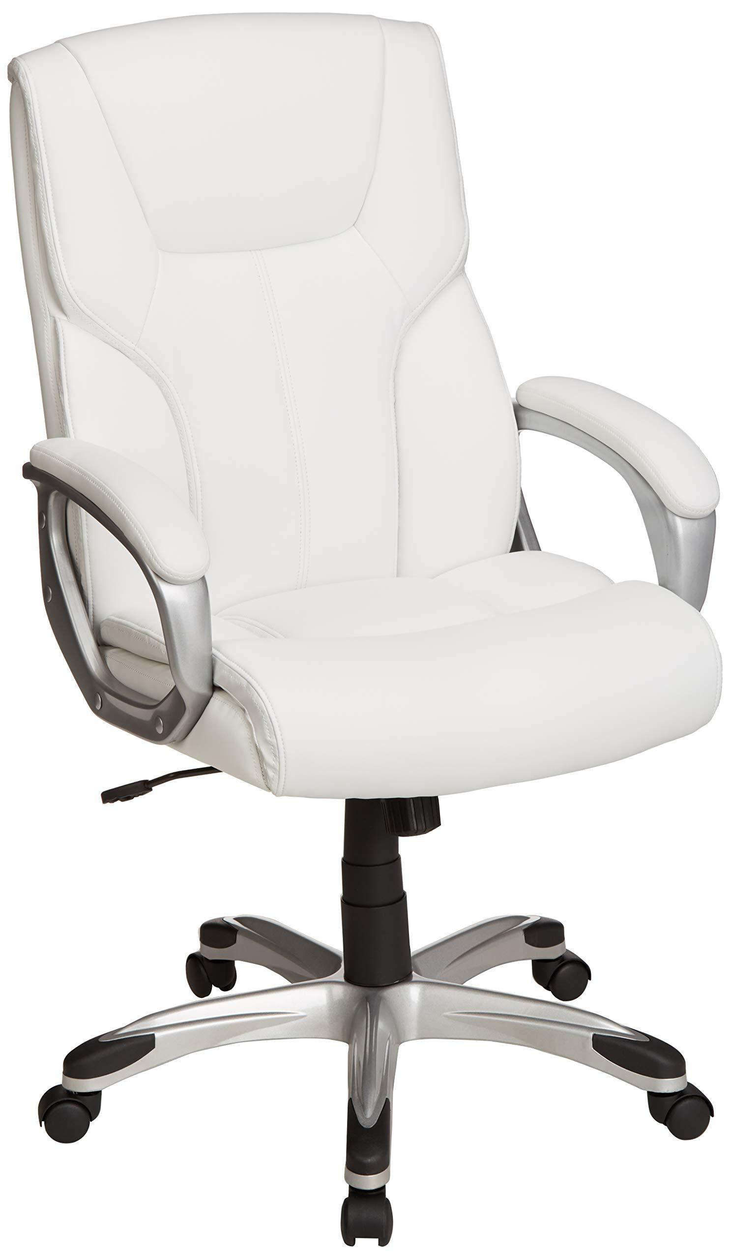 AmazonBasics High-Back Executive Swivel Office Desk Chair - White with Pewter Finish by AmazonBasics
