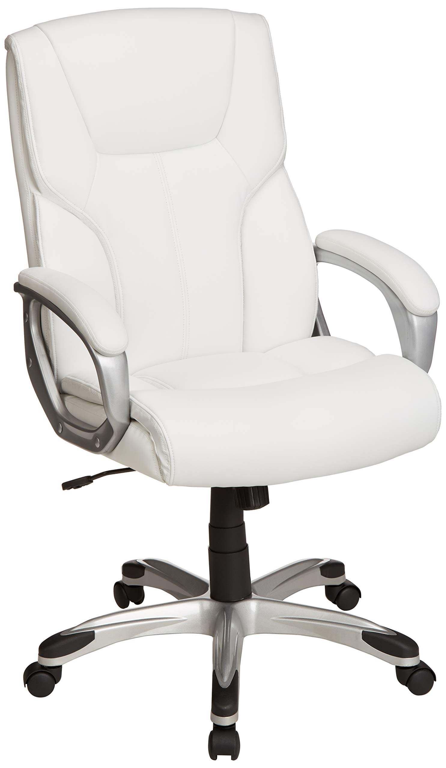Amazon price history for AmazonBasics High-Back Executive Swivel Office Desk Chair - White with Pewter Finish, BIFMA Certified