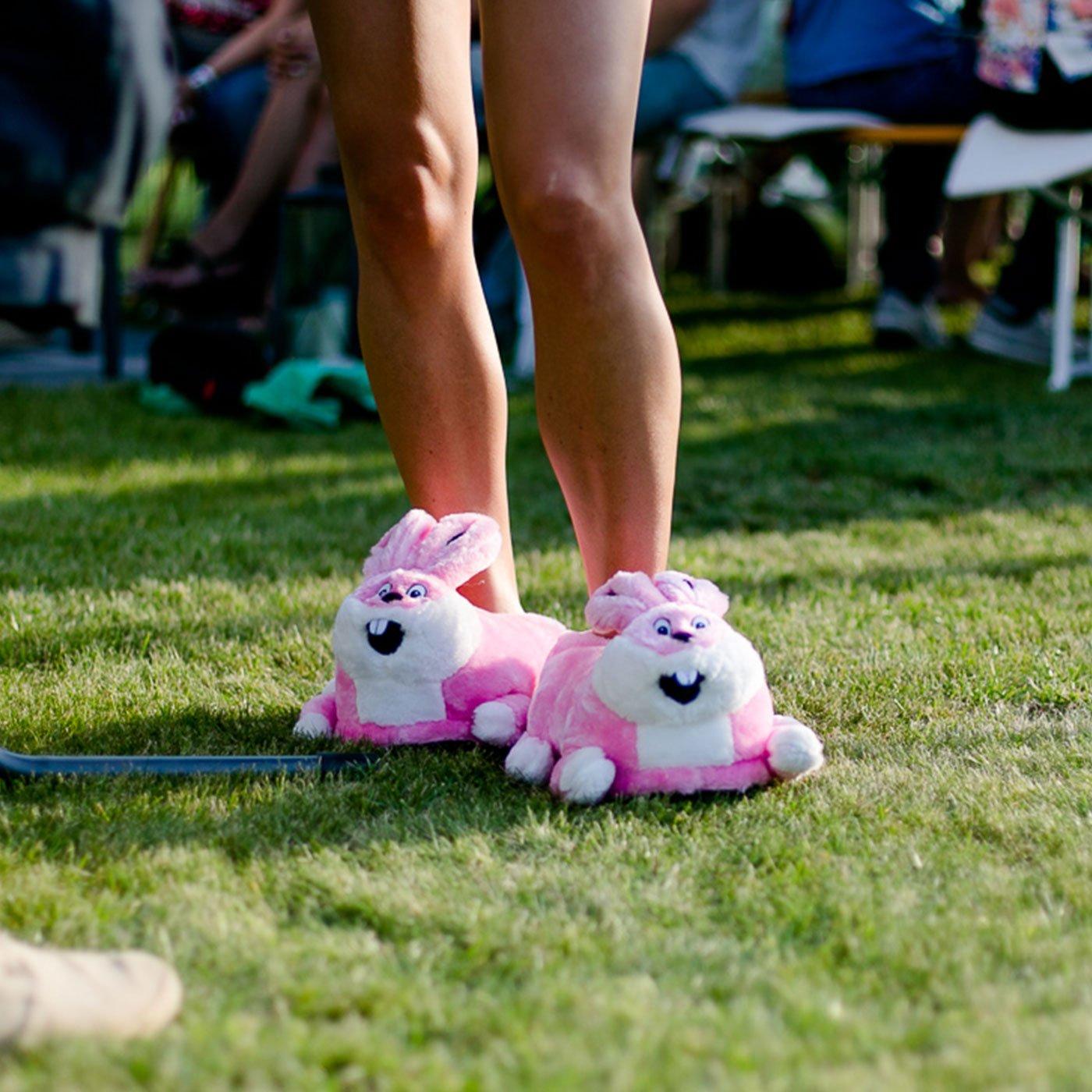 funslippers Unisex Plush Indoor Novelty Slippers Animal Bunny Pink
