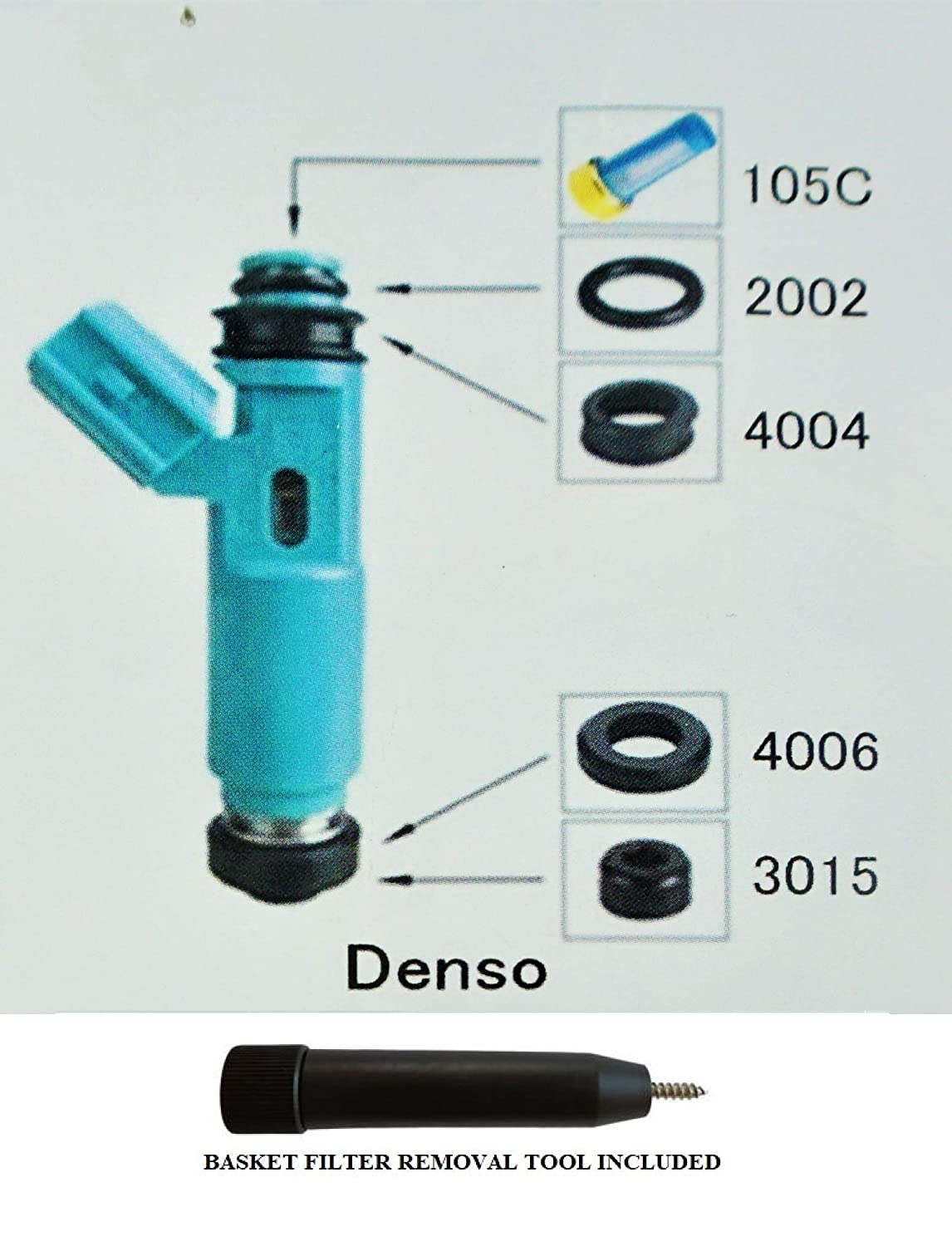 with Optional Filter Removal Tool Complete Fuel Injector Rebuild Kit for DENSO Blue