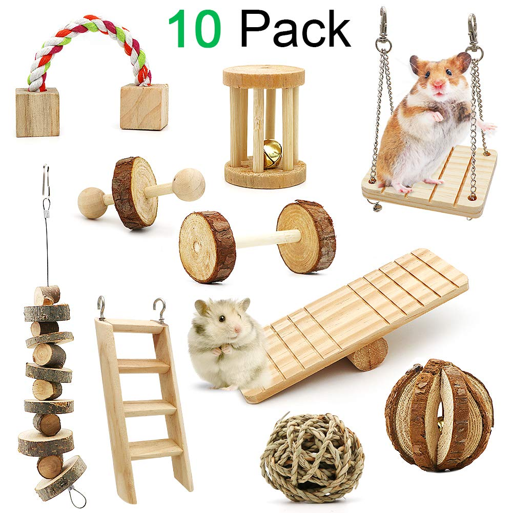 ZALALOVA Hamster Chew Toys, 10 Pack Natural Wooden Pine Guinea Pigs Rats Chinchillas Toys Accessories Dumbells Exercise Bell Roller Teeth Care Molar Toy for Birds Bunny Rabbits Gerbils by ZALALOVA