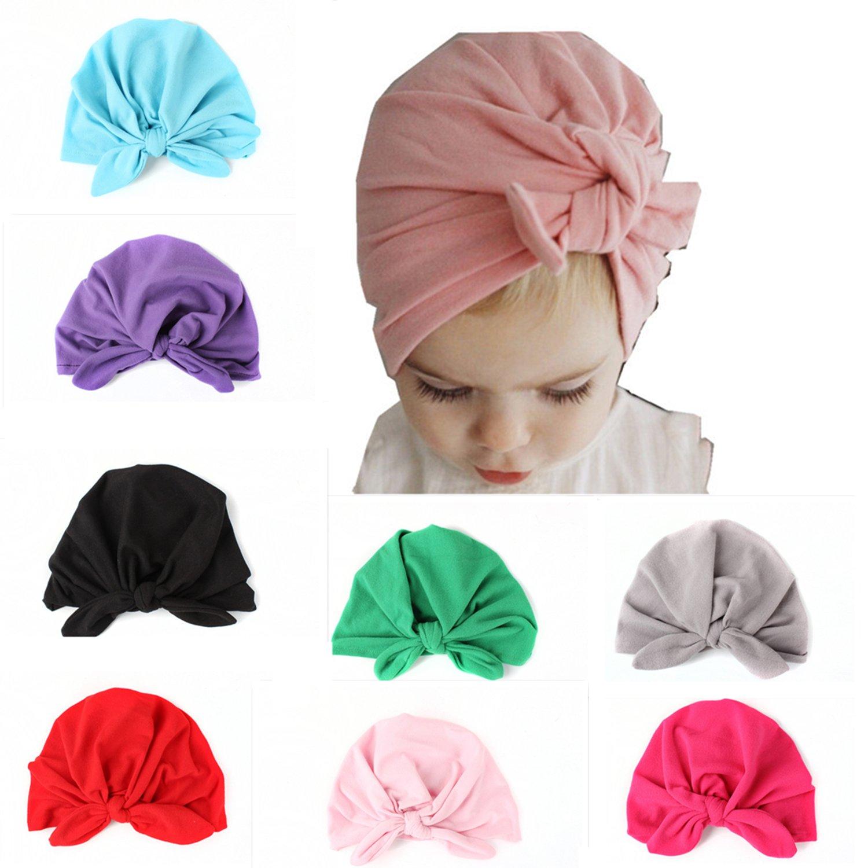 8 Pcs Newborn Elastic Sretch Head Wrap Infant Turban Toddler Baby Girl Knot Headbands
