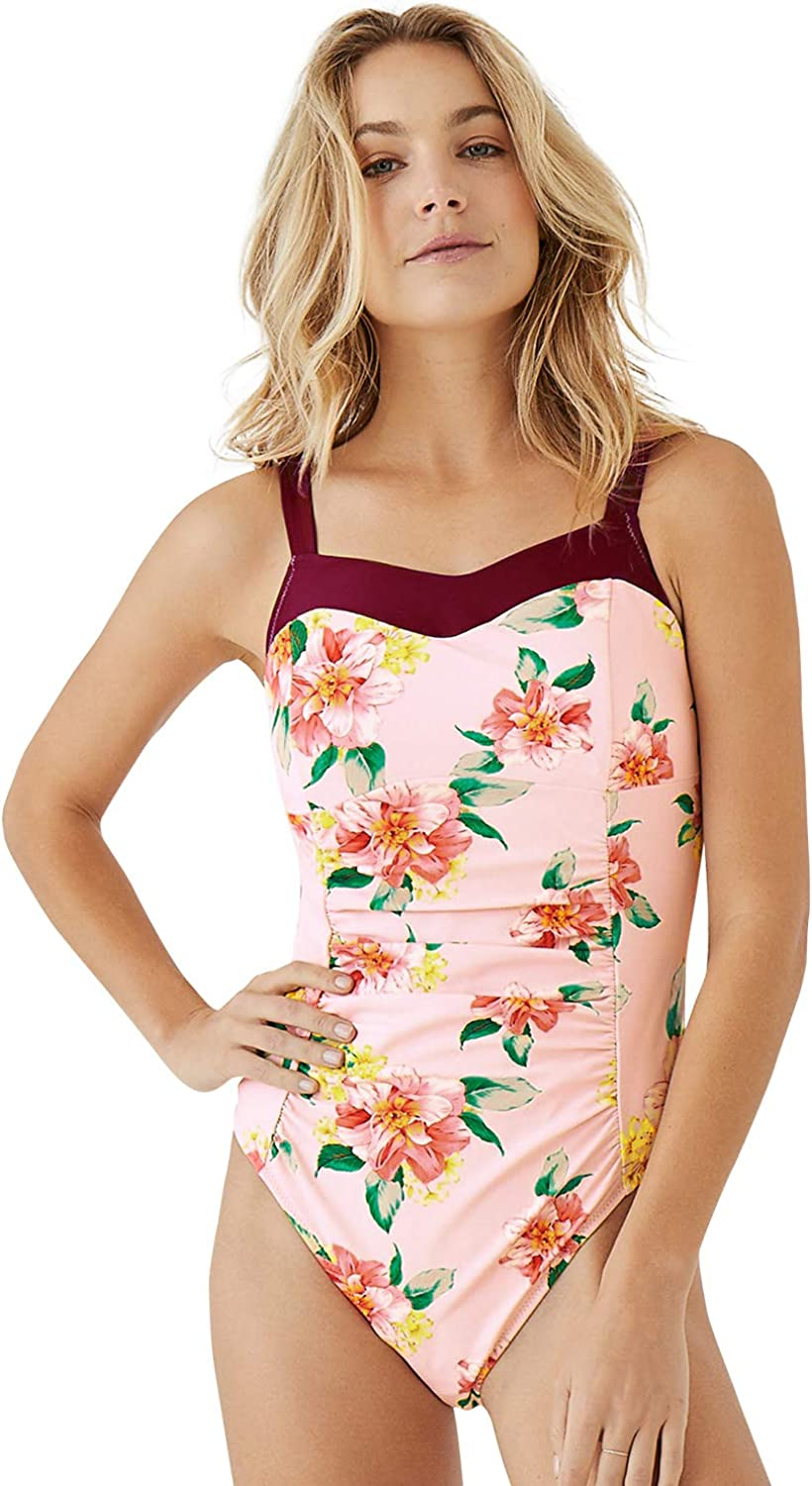 SEASELFIE Womens Tropical Print Ruched One Piece Swimsuit Straps Monokini