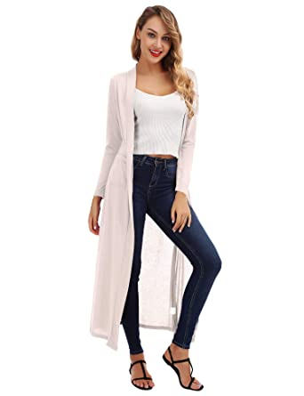 82fb74dc10f62a FISOUL Women's Cardigan Open Front Long Drape Lightweight Maxi Long Sleeve  Cardigan Sweater Pockets