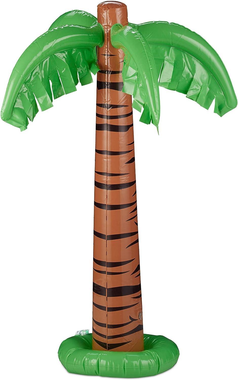 Relaxdays Palmera Hinchable para Fiesta Piscina, PVC, Verde-Marrón, 80 cm de Altura