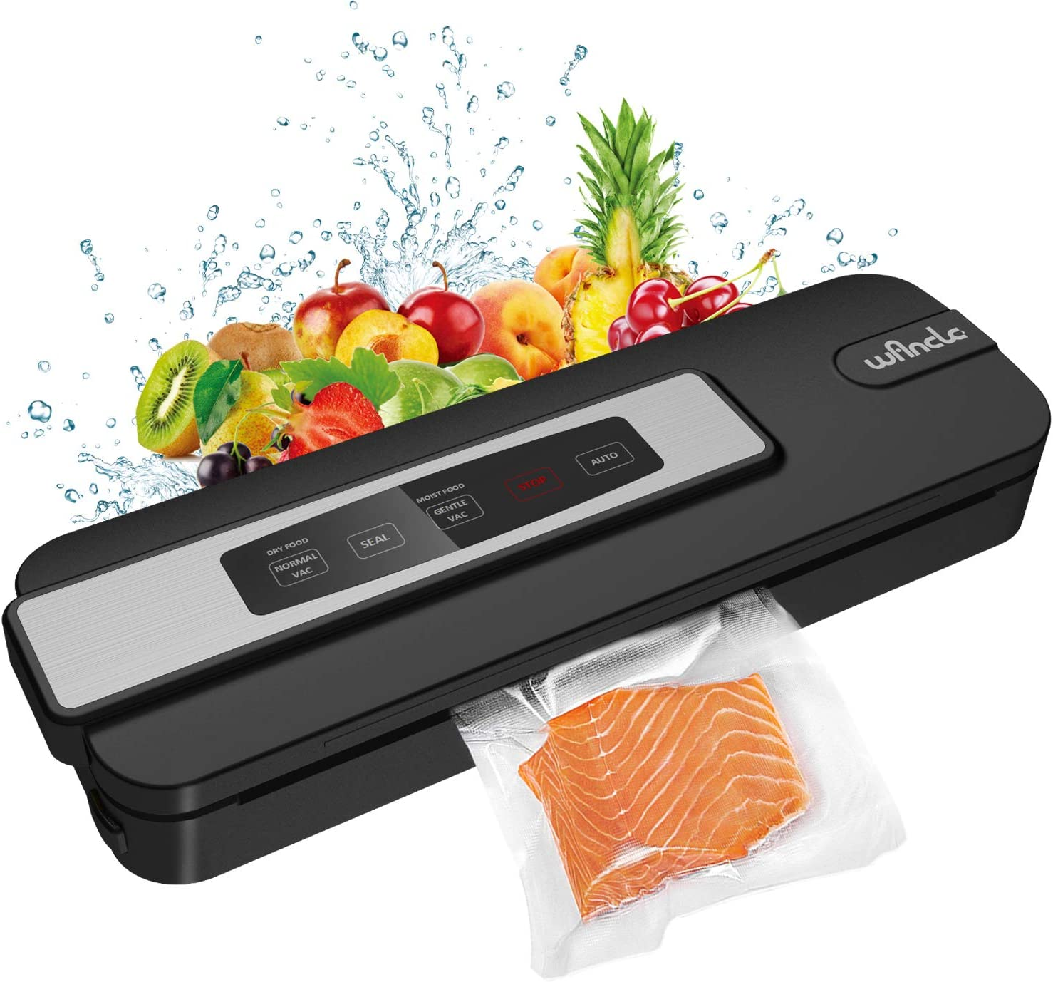 Wancle Vacuum Sealer Machine For Food - Automatic Sealing For Kitchen Sous Vide Meal - Compact Freezer Vac Sealer with Dry & Moist Mode - Professional Meat & Vegetable Pack Storage - Quiet Air Sealer