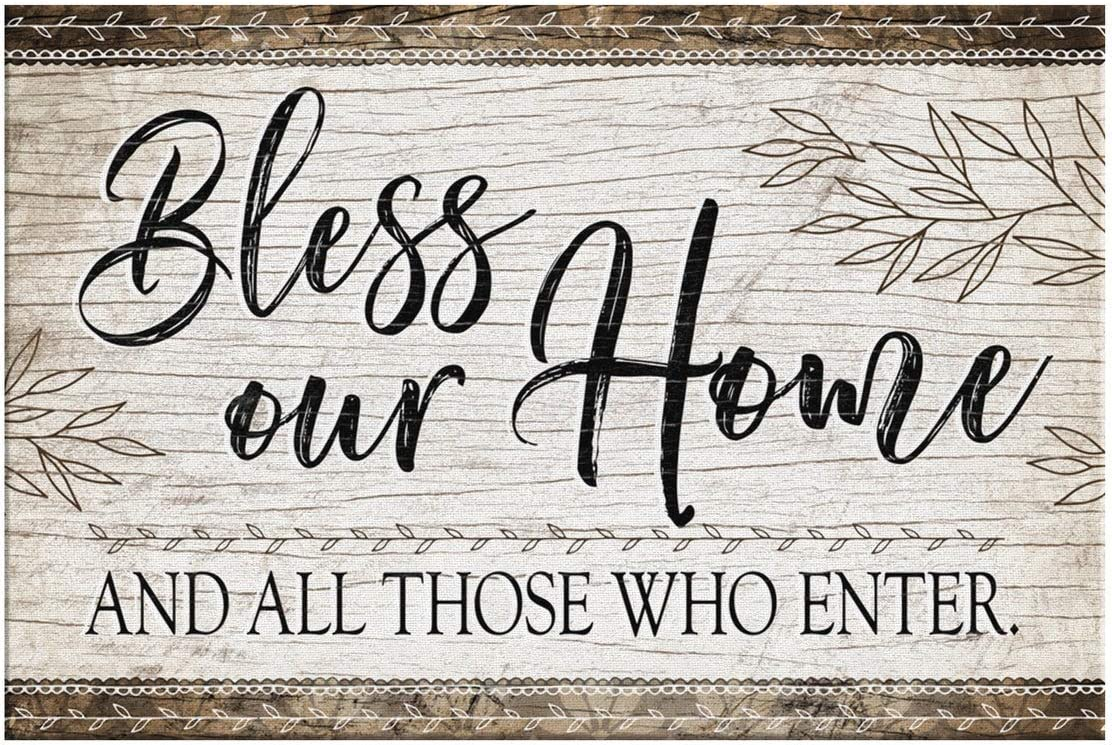iWow Bless Our Home and All Those Who Enter Canvas Family Farmhouse Living Room Wall Sign Decor Print Wedding Anniversary Housewarming Gift Idea On Birthday, Christmas 32x48
