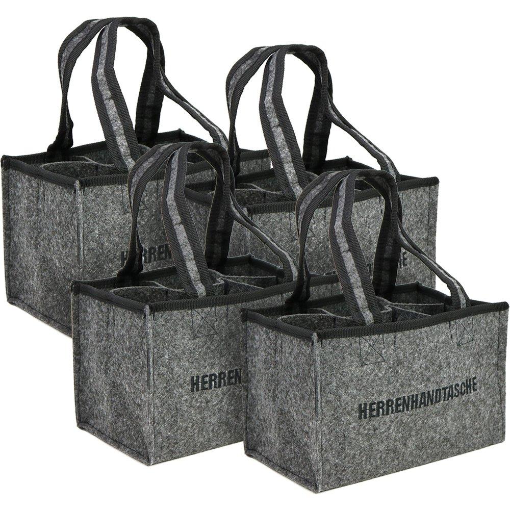 COM-FOUR® 2x Borsa da trasporto per bottiglie, borsa in feltro, borsa per bottiglie in feltro per 6 bottiglie fino a 0,5 L, grigio/nero, 24 x 15 x 15 cm (02 pezzi - feltro)