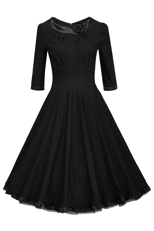 ANGVNS Elegant Damen 1950er Retro Vintage Abendkleider O Ausschnitt 3/4-Arm Party Cocktailkleid Weinlese Rockabilly Swing Kleid mit Spitze Knielang