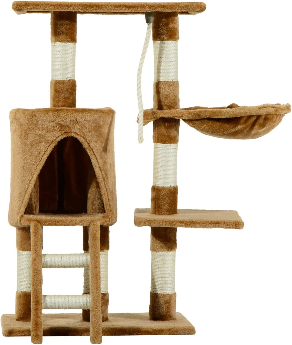 Pawhut Árbol para Gatos Rascador con Nido Plataforma Caseta Escalera Cuerda de Juego 30x55x96cm Tablero de Madera y Cubierto de Felpa Marrón