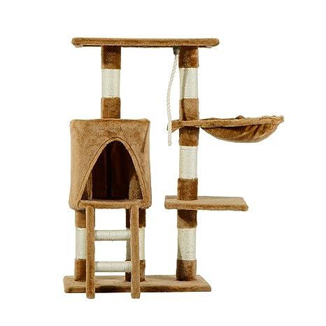 PawHut Árbol para Gatos Rascador con Nido Plataforma Caseta Escalera Cuerda de Juego 30x55x96cm Tablero de