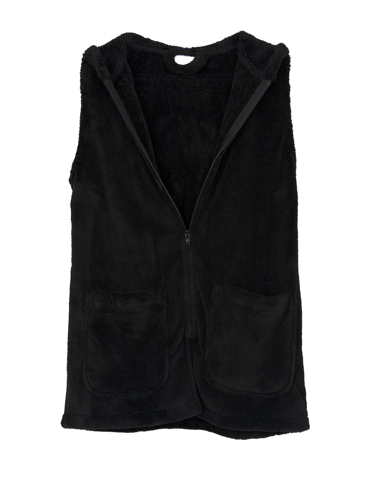 TowelSelections Women's Bed Jacket, Hooded Vest, Zip Front Cardigan Fleece Robe Large Black