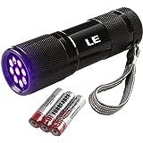 LE Linterna UV Detectar orina y manchas de mascota 9 LED, 395nm luz negra, 3 Pilas incluidas