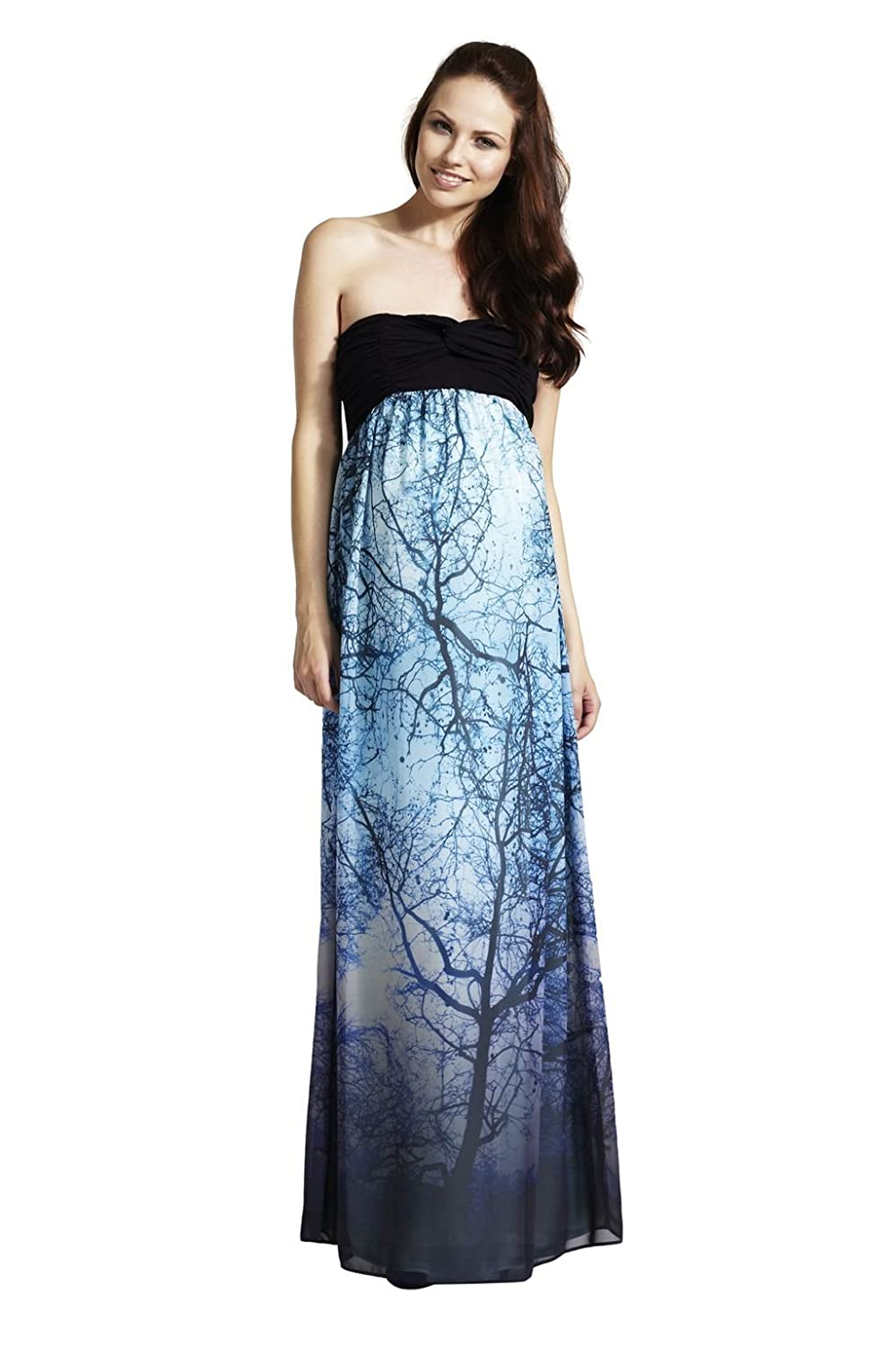 f8f293eee83 Rock Aby Rosie Alice - Stunning Printed Maternity Bandeau Maxi Dress    Color - Blue Multi   Size - 16  Amazon.co.uk  Clothing