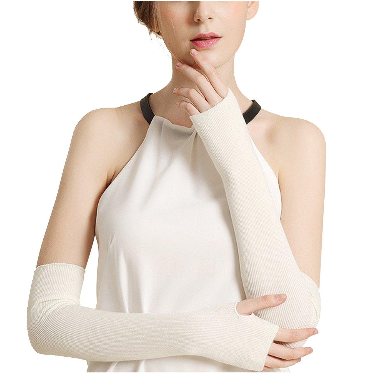 CHIC DIARY Women Fashion Arm Warmer Thumbhole Long Fingerless Gloves (02-Off white)