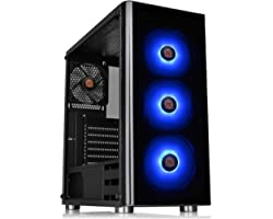 Thermaltake V200 Tempered Glass RGB Edition 12V MB Sync Capable ATX Mid-Tower Chassis with 3 120mm 12V RGB Fan + 1 Black 120m
