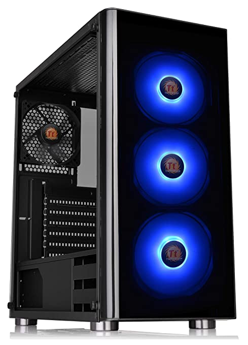 Thermaltake V200 Tempered Glass RGB Edition 12V MB Sync Capable ATX Mid-Tower Chassis with 3 120mm 12V RGB Fan + 1 Black 120mm Rear Fan Pre-Installed ...