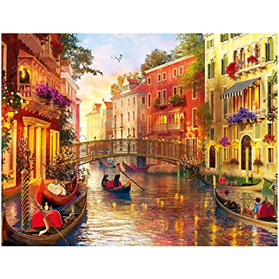 Veodhekai 1000 Pieces Jigsaw Puzzles for Kids Puzzle Toy Landscape Pattern Romantic Venice (Yellow): Clothing